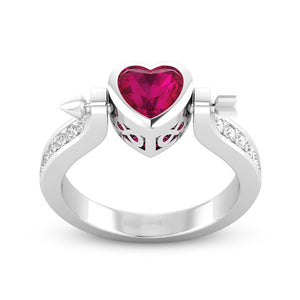 Stainless Steel Red Heart Ring