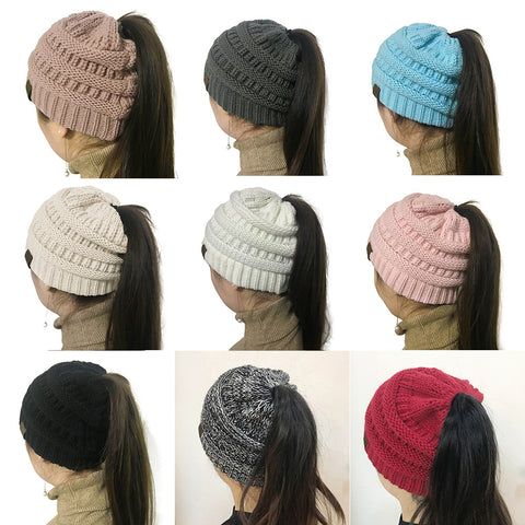 Assorted Color Ponytail Beanie