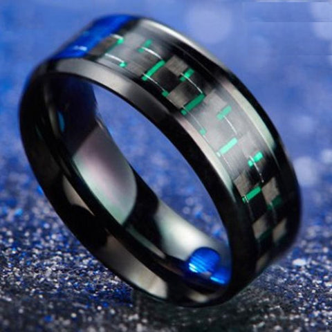 Green Carbon Fiber Army Stainless Steel Ring