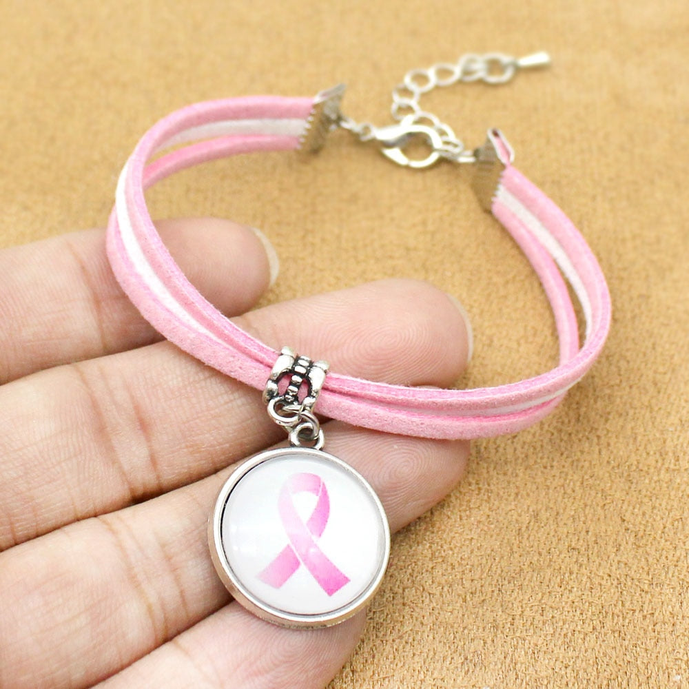 Pink Ribbon Rope Chain Bracelet