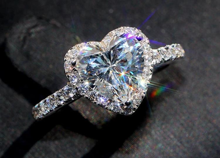 Crystal Heart Halo Ring