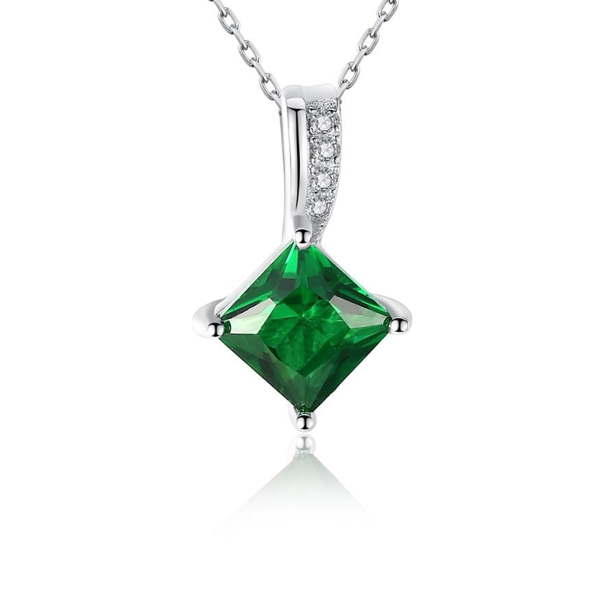 Princess Cut Emerald Mental Health Awareness Necklace
