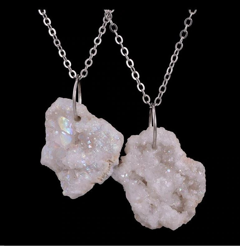 White Natural Stone Quartz Community Support Necklace