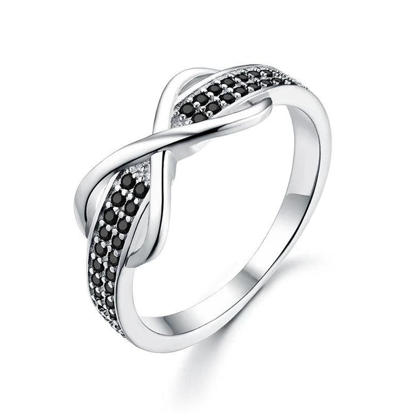 Military Support Black Stone Infinity Silver Ring