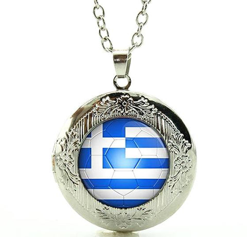 Greece Flag Football Locket Necklace
