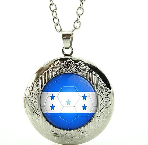 Honduras Flag Golden Locket Necklace