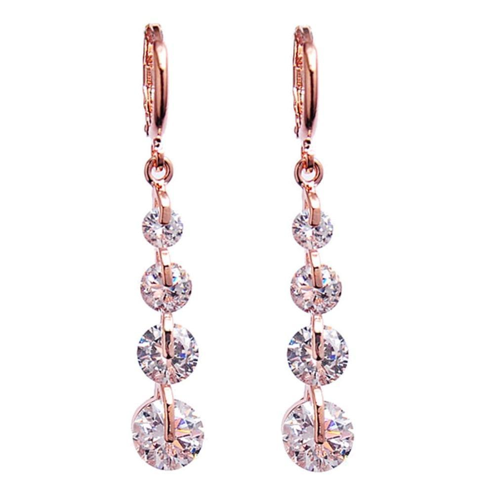 White Crystal Layered Earrings