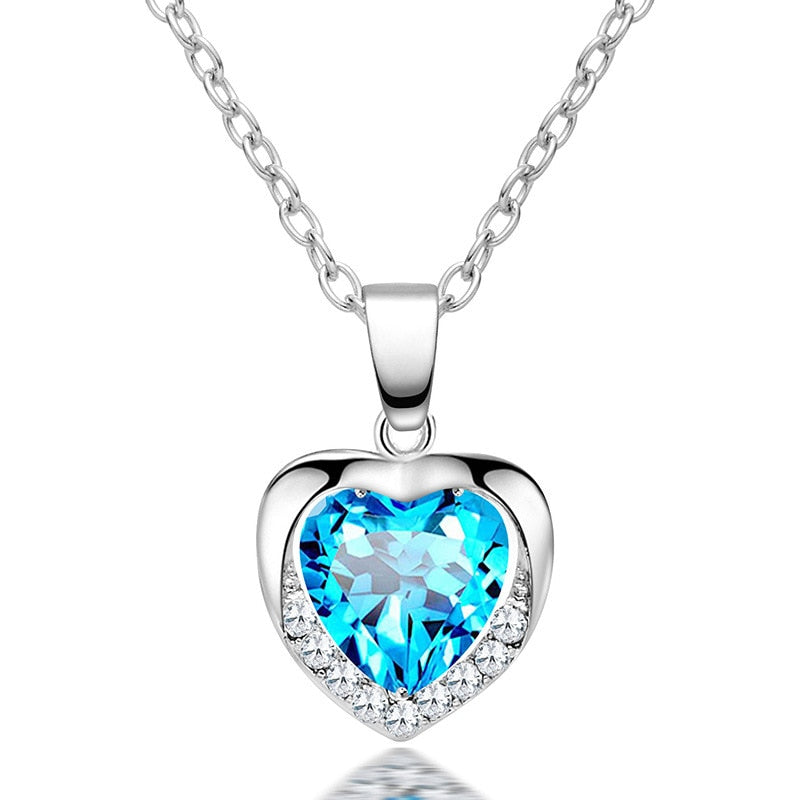 Diabetes Awareness Rhinestone Heart Chain Necklace