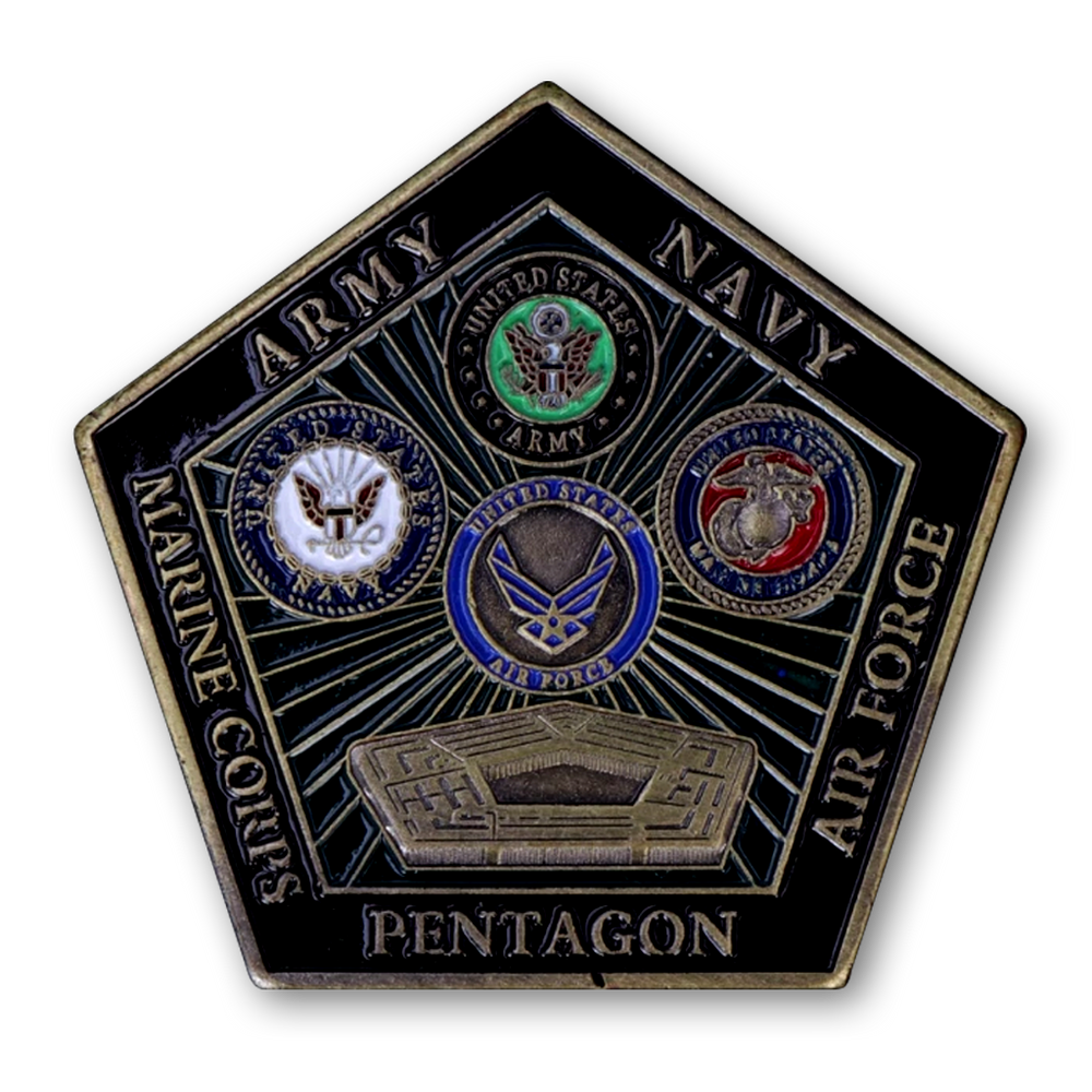 Department Of Defense~Army~Navy~Air Force~Marine Corps~Pentagon~Challenge Coin