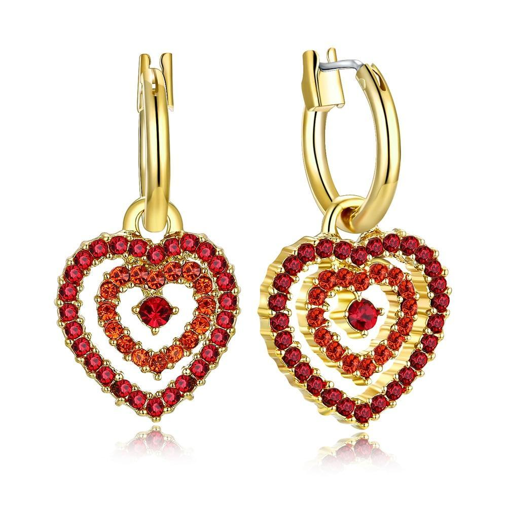 Red Crystal Hearts Earrings