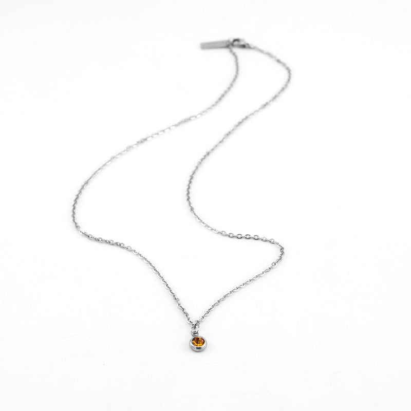 Stainless Steel Mini Birthstone Necklace