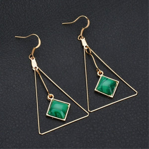 Geometric Triangle Green Gem Drop Earrings