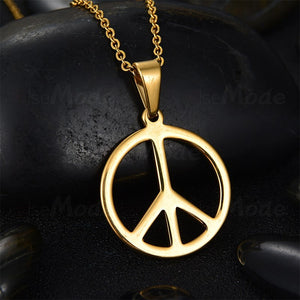 Gold Peace Sign Stainless Steel Necklace