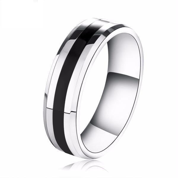 Black Line Stainless Steel Ring