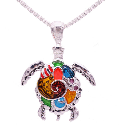 Multicolored Sea Turtle Pendant Necklace