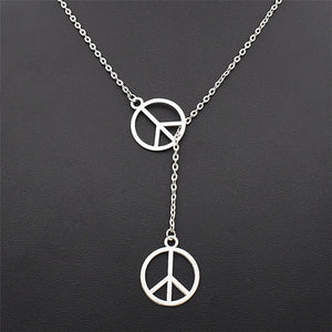 Social Responsibility Double Peace Sign Necklace