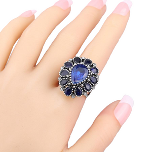 Police Support Crystal Flower Ring