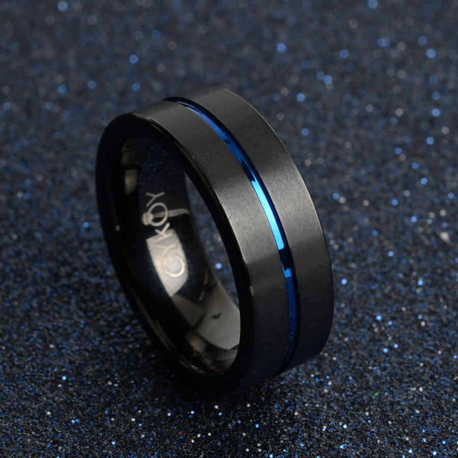 Military Support Blue Line Carbide Ring