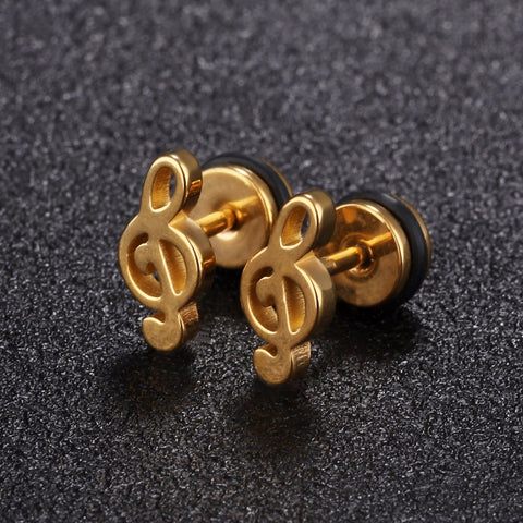 Simple Treble Clef Stud Earring