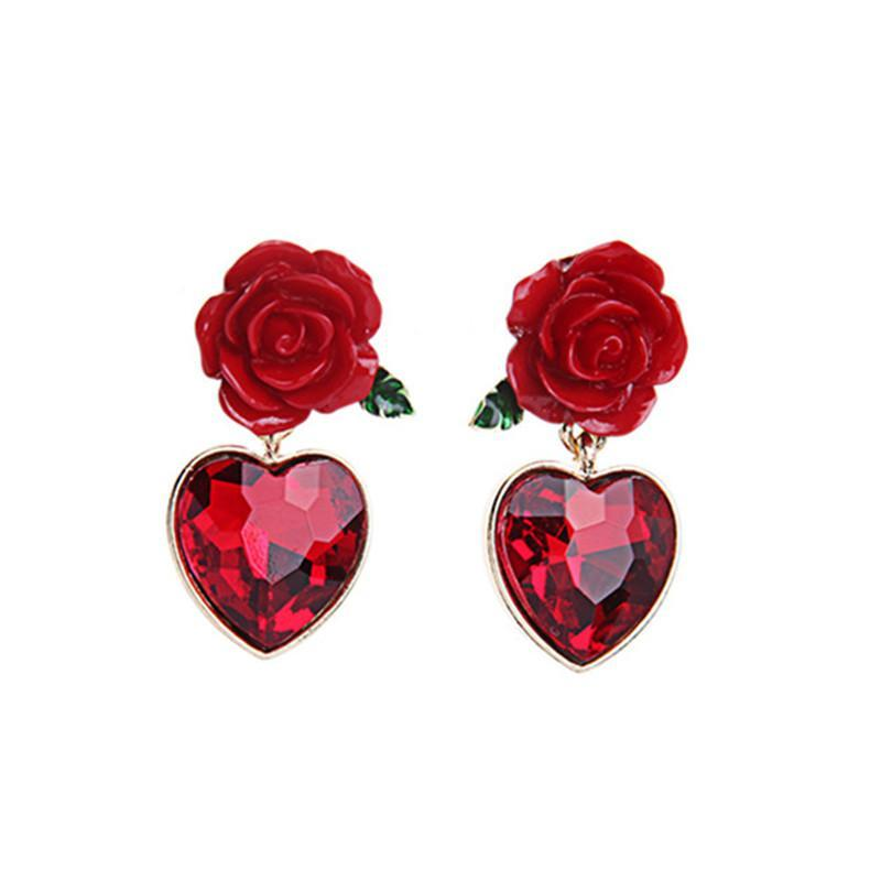 Red Heart Rose Earrings