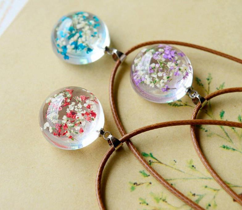 Natural Dried Flowers Necklace