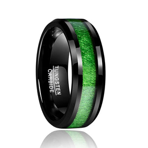 Tungsten Army Green Line Ring