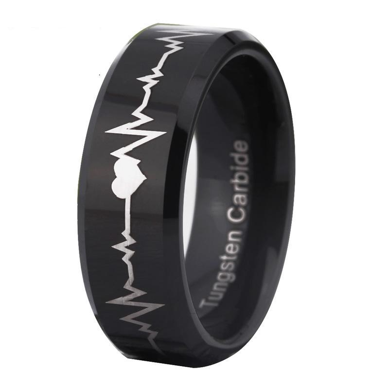 EMS Support Heartbeat Tungsten Ring (Black)