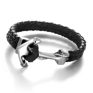 Leather Navy Support Anchor Bracelet