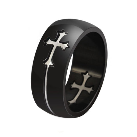 Black Silver Cross Dispatch Ring