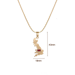 United Kingdom Map Flag Necklace