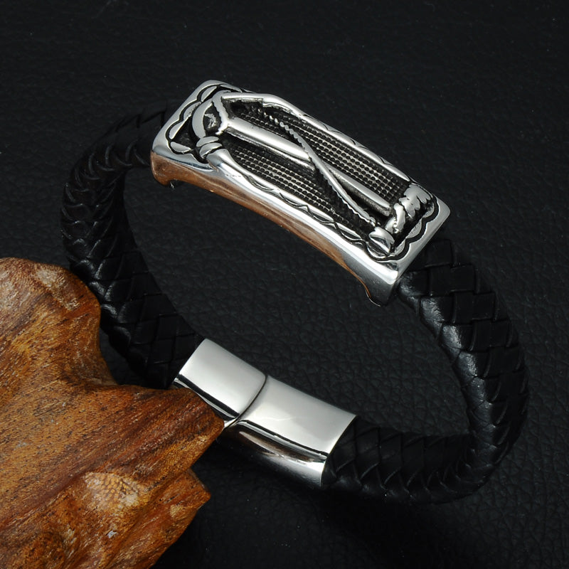 Navy Support Leather Anchor Bracelet