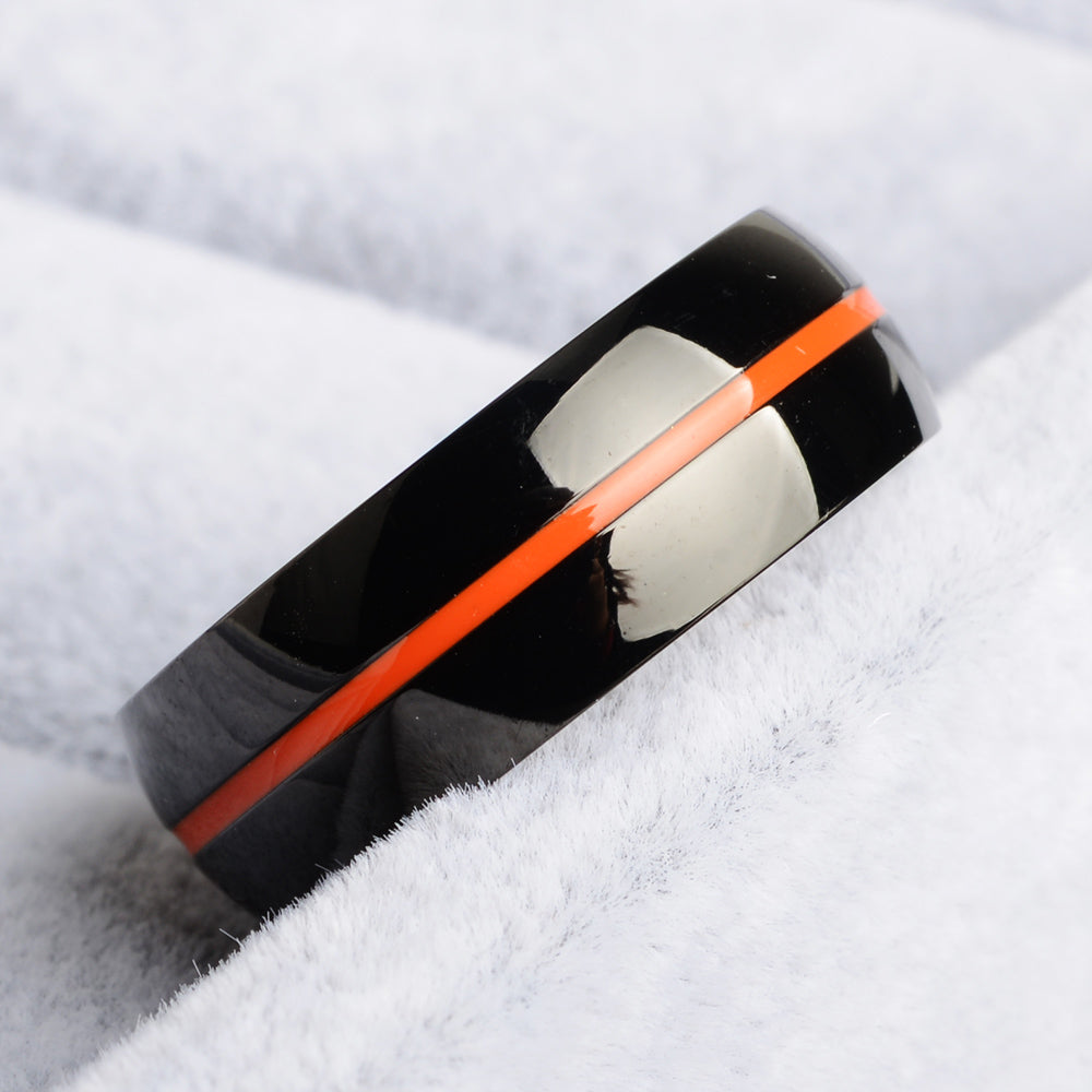 Kidney Cancer Awareness Orange Line Ring