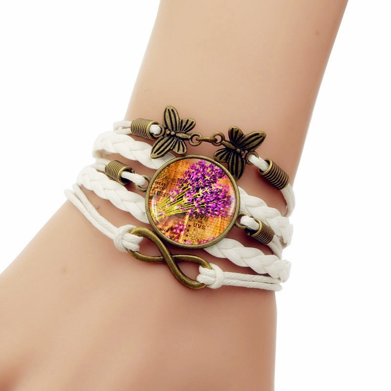 White Multi-layered Leather Glass Bracelet