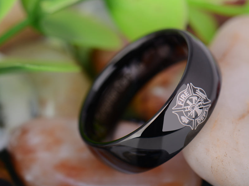 Fire Department Tungsten Carbide Black Ring
