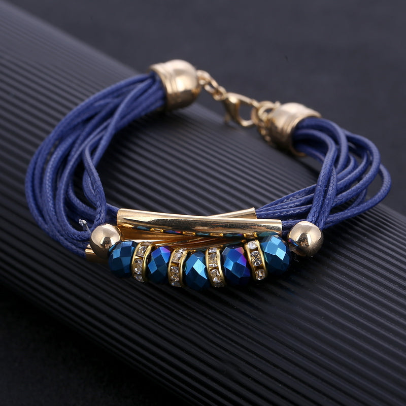 Blue Multi-layered Leather Bracelet