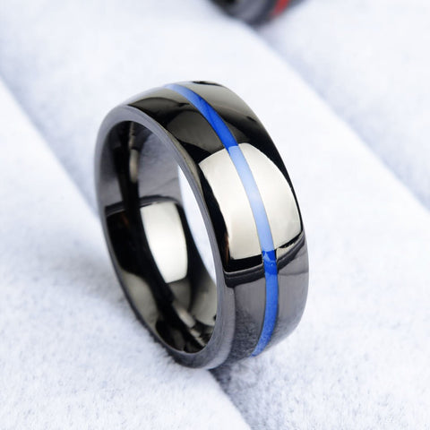 Colon & Prostate Cancer Awareness Blue Line Ring