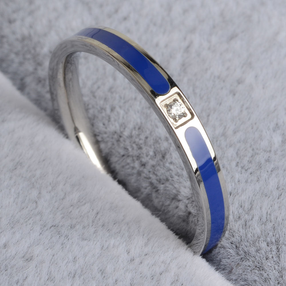 Stainless Steel Police Blue Line Ring (Men/Women)