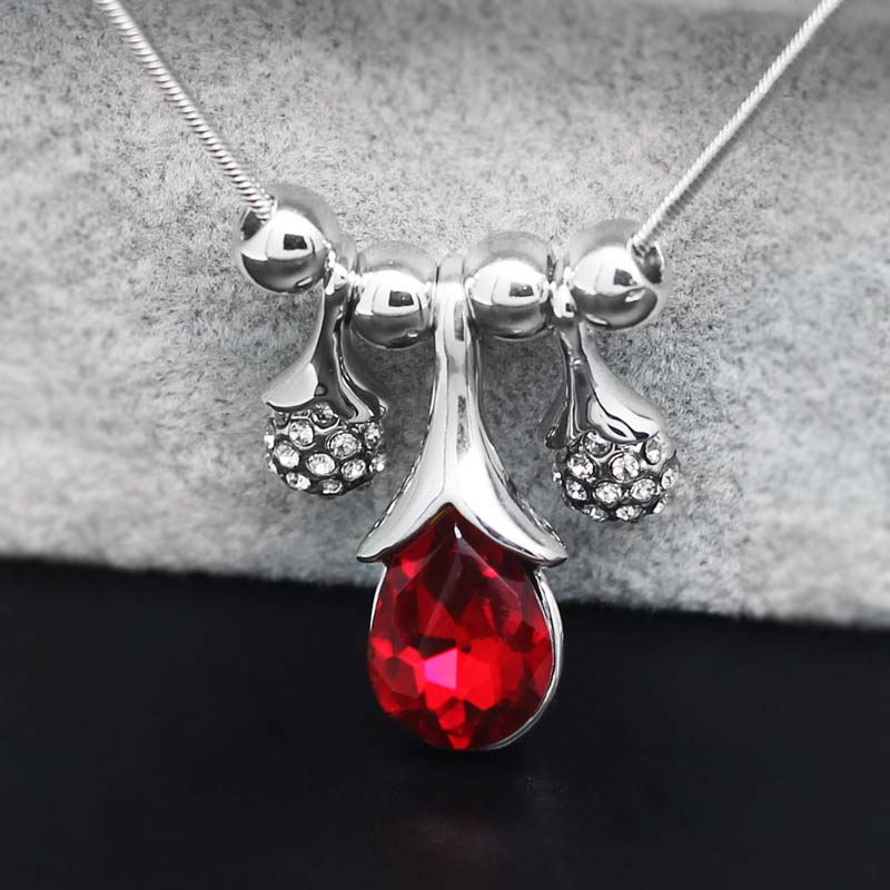 Red Crystal Teardrop Necklace