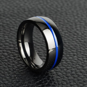 Navy Support Blue Line Ring