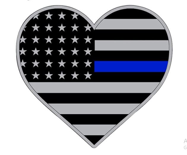 Blue Line Heart Decal