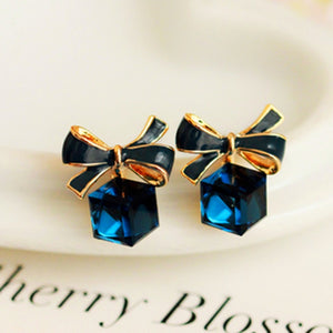Rhinestone Cube Police Support Ribbon Earrings