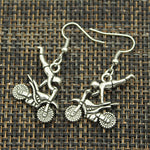 Vintage Motorcycle Safety Awareness Drop Earrings