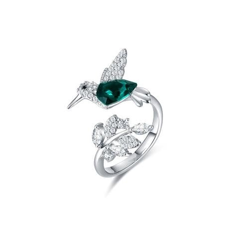 Crystal Bird Mental Health Awareness Silver Ring