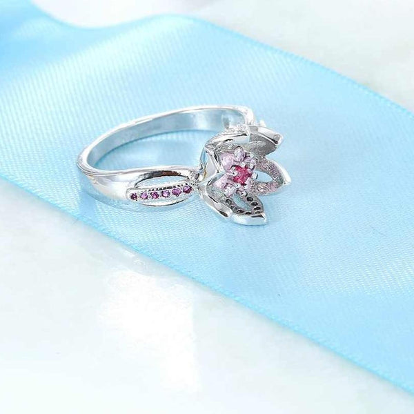 Pink Lotus Flower Breast Cancer Ring Aspire Gear