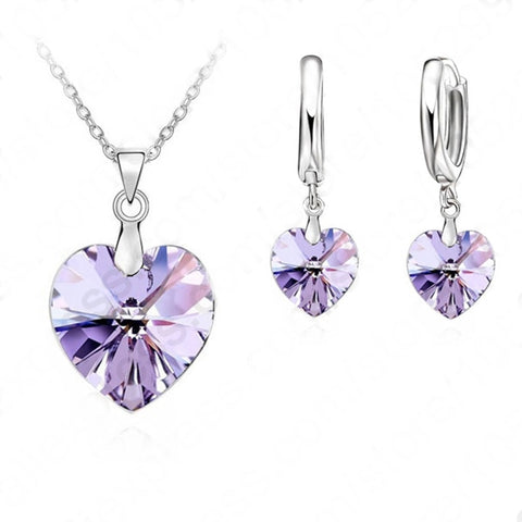 Domestic Violence Purple Heart Jewelry Set