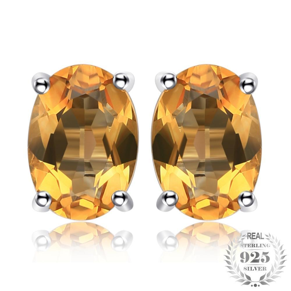 Citrine 925 Sterling Silver Oval Earring