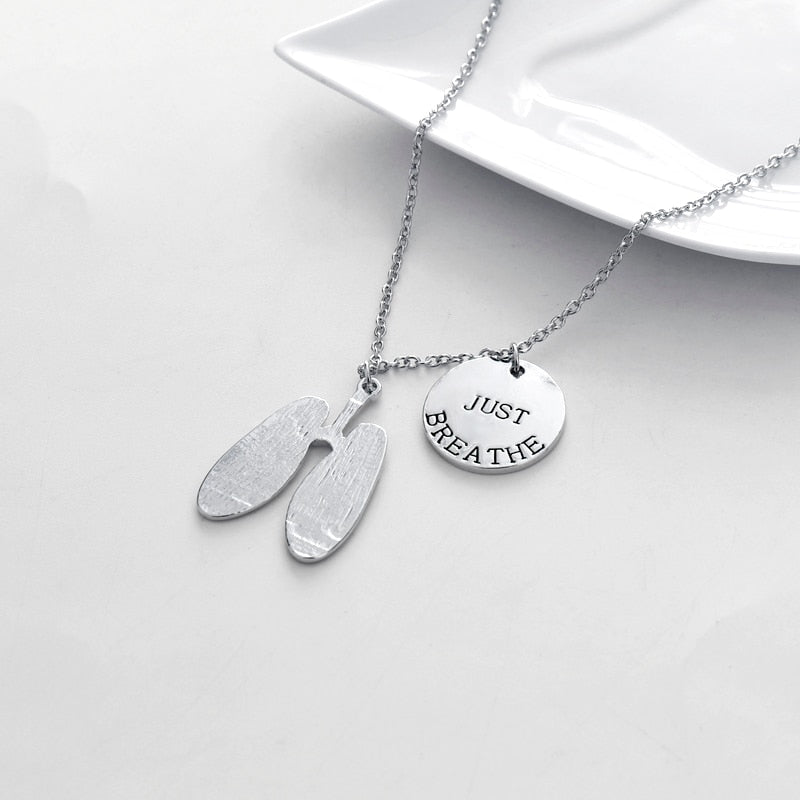 Just Breathe Lung Cancer Awareness Necklace