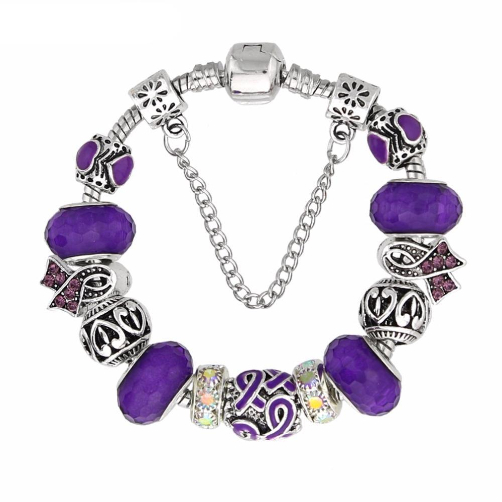 Domestic Violence Awareness Purple Charm Bracelet