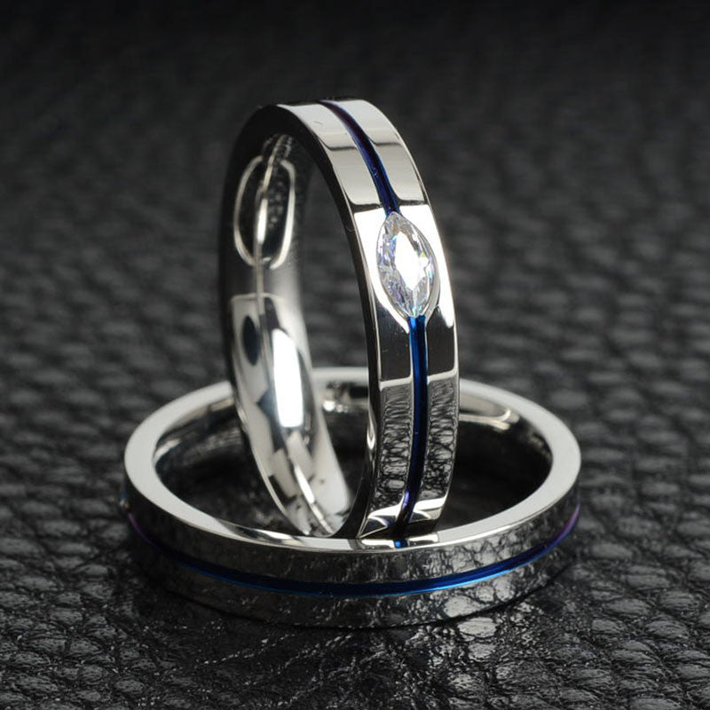 Thin Blue Stripe Titanium Ring