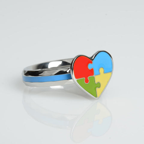 Autism Heart Puzzle Ring